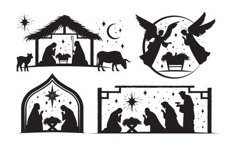 Set of four silhouetted nativity scenes for Christmas 向量圖像