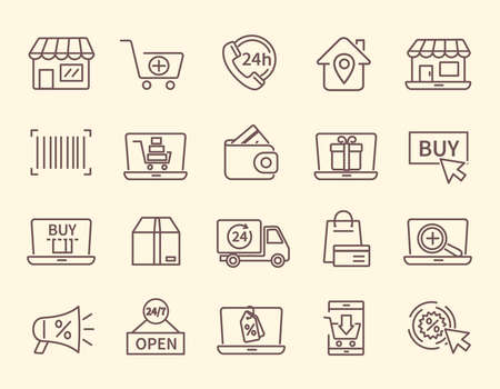 Large set of line drawn shopping and store icons 向量圖像