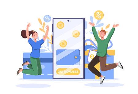 Get bonuses, loyalty program and cash back concept