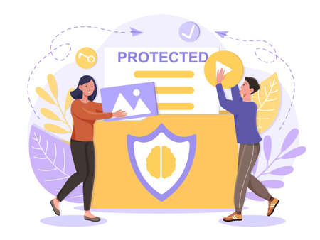 Intellectual property protection concept. Vector Illustration