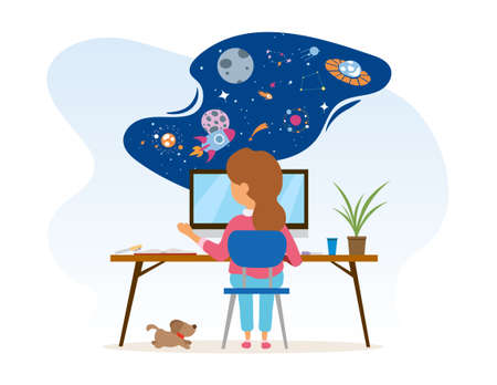Little girl is sitting at desk with computer and using her imagination Vetores