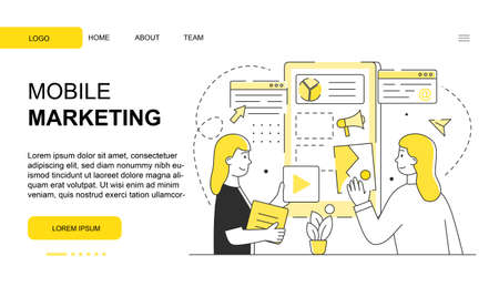 Two female characters are working on mobile marketing website design