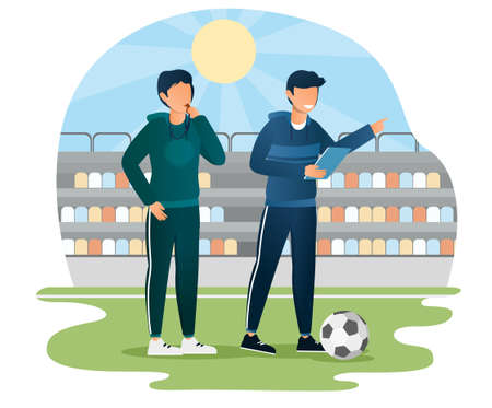 Male soccer coach pointing finger giving instructions to players with his assistant