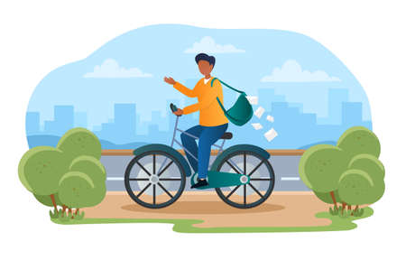 Male postman with post bag is riding bicycle and greeting people