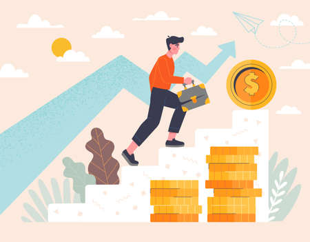Career Growth and business success concept with gold coins