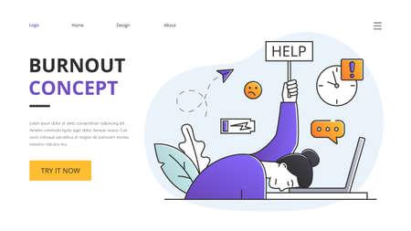 BurnOut concept with person slumped over a laptop computer