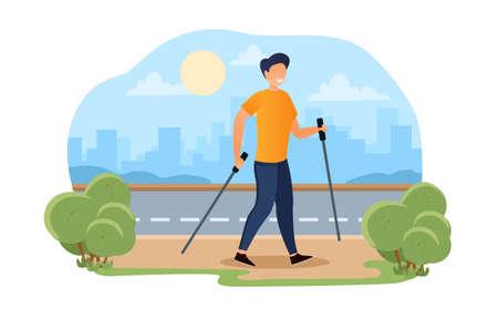 business man sport walking for smart workout Vettoriali