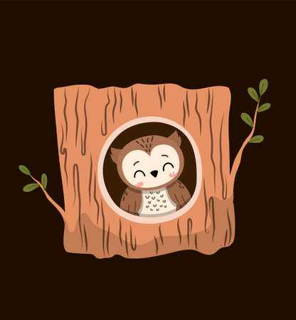 Cute little cartoon owl inside a hollow woodland tree 矢量图片