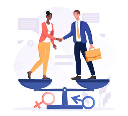 Gender equality concept with business man and woman on scale
