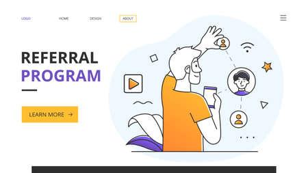 Referral Program awards and online marketing concept
