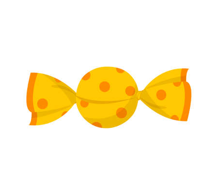 Yellow cute packaged candy on white background