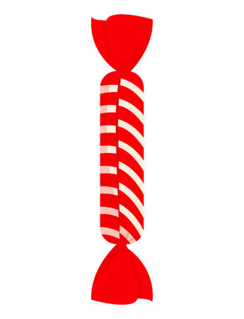 Red striped cute candy in wrapper on white background Vectores