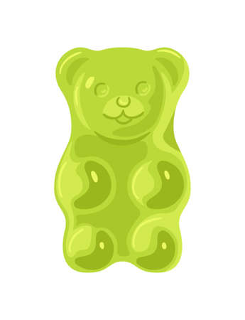 Green jelly marmalade bear on white background Vectores