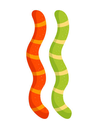 Colorful jelly marmalade worms on white background. Vectores