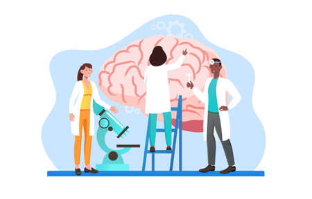 Group of male and female scientists is studying human brain and mind memory Vectores