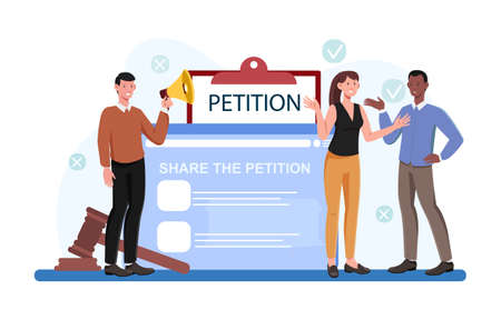 Male and female characters are signing petition online together