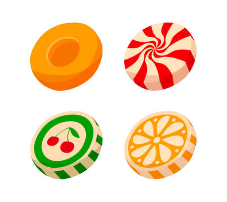 Colorful striped candy pieces with fruit picture on white background
