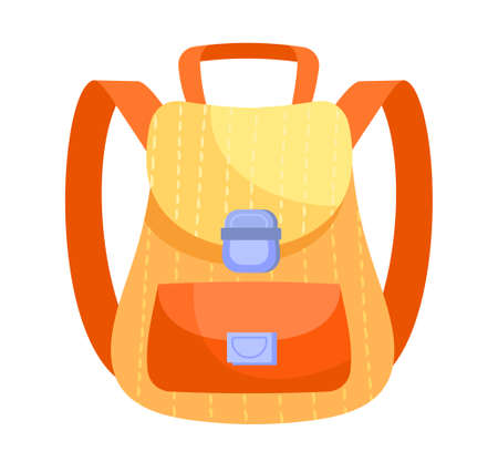 Fancy yellow and orange backpack on white background
