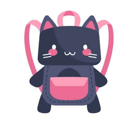 Cute purple and pink cat-shaped child backpack on white background Vectores