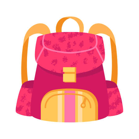 Cute small pink and yellow child backpack on white background