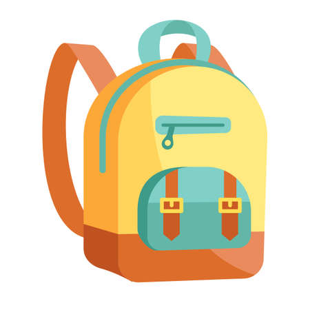 Fancy yellow and blue backpack on white background Vectores