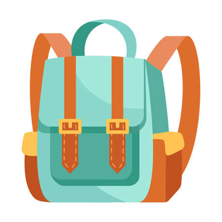 Fancy blue and brown backpack on white background