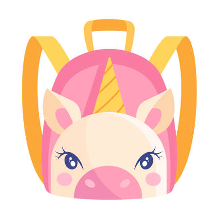 Cute small pink and yellow child backpack with unicorn print on white background Vectores