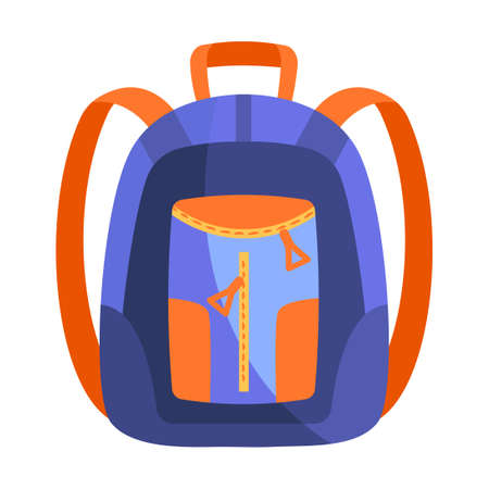 Fancy blue and orange backpack on white background