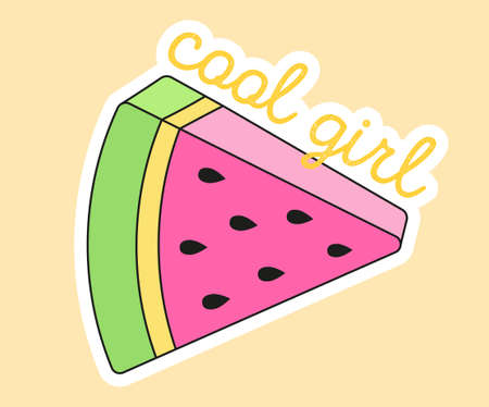Cute fashion patch with watermelon slice and cool girl lettering