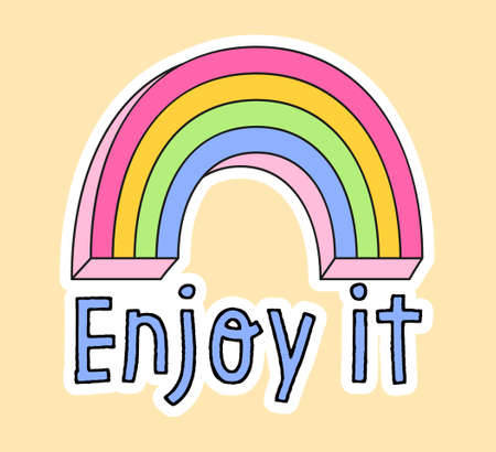 Cute fashion patch with rainbow and enjoy it lettering