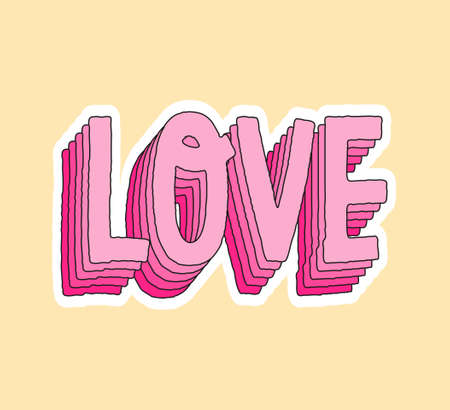 Cute fashion patch with love pink layer lettering