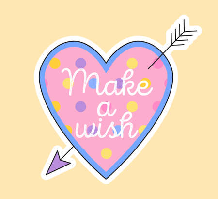 Cute fashion patch with make a wish lettering in pink heart Vectores
