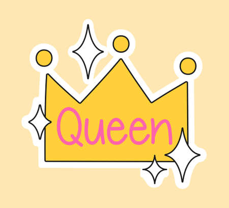 Cute fashion patch with queen lettering in yellow crown Vectores