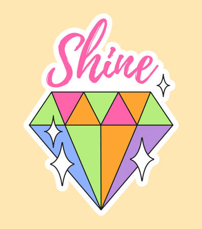 Cute fashion patch with shine lettering on top of colorful diamond