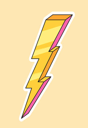 Cute fashion patch with yellow lightning Vectores