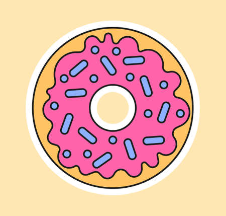 Cute fashion patch with doughnut with pink topping