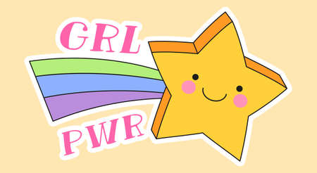 Cute fashion patch with girl power lettering next to yellow star with rainbow