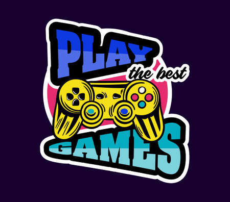 Cute game logo patch with play games lettering next to gamepad