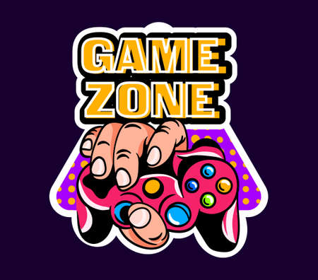 Cute game logo patch with game zone lettering and hand holding gamepad