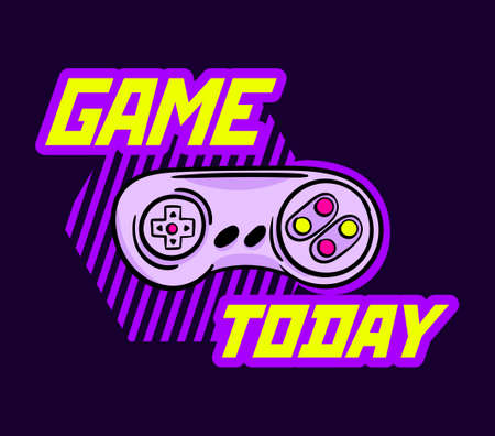 Cute game logo patch with game today lettering and gamepad
