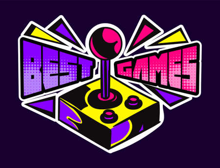Cute game logo patch with best games lettering and old school gamepad