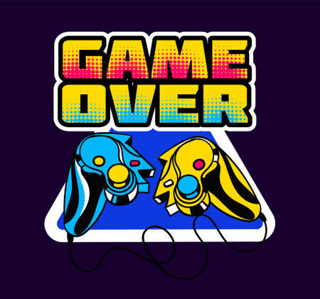 Cute game logo patch with game over lettering and a broken gamepad Vectores