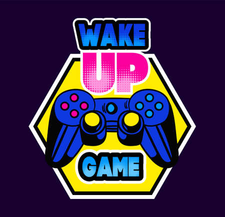 Cute game logo patch with wake up game lettering and gamepad