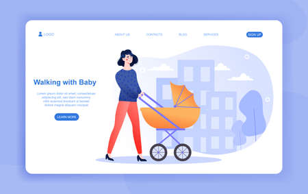 Cheerful female character is walking with baby in park