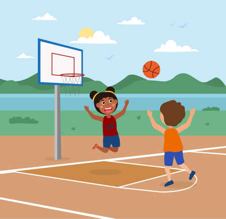 Cute little kids are playing basketball on a court outdoors together Vectores