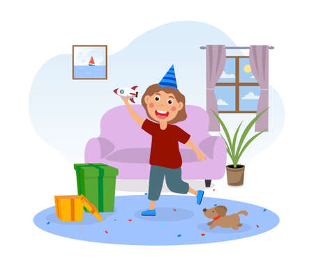 Happy cute little kid opens gifts for his birthday Vectores