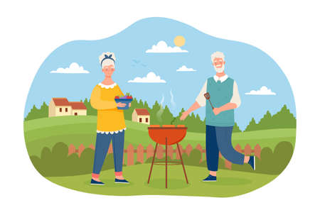 Elderly male and female characters are cooking BBQ meat in garden together