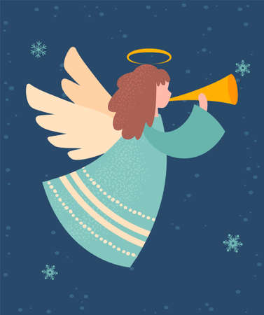 Greeting card for Christmas and New Year season holidays with angel toy
