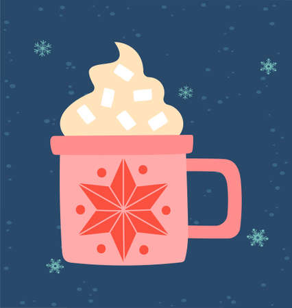 Greeting card for Christmas and New Year with cute cup with hot coffee with marshmallow
