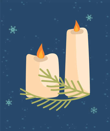 Greeting card for Christmas and New Year with cute burning candles and tree branch